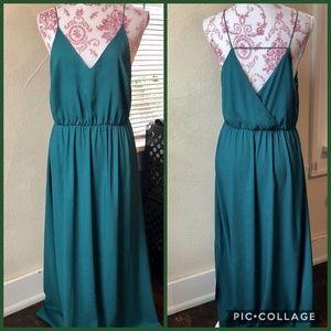 Loft Maxi Dress Size 6 Emerald Green Polyester